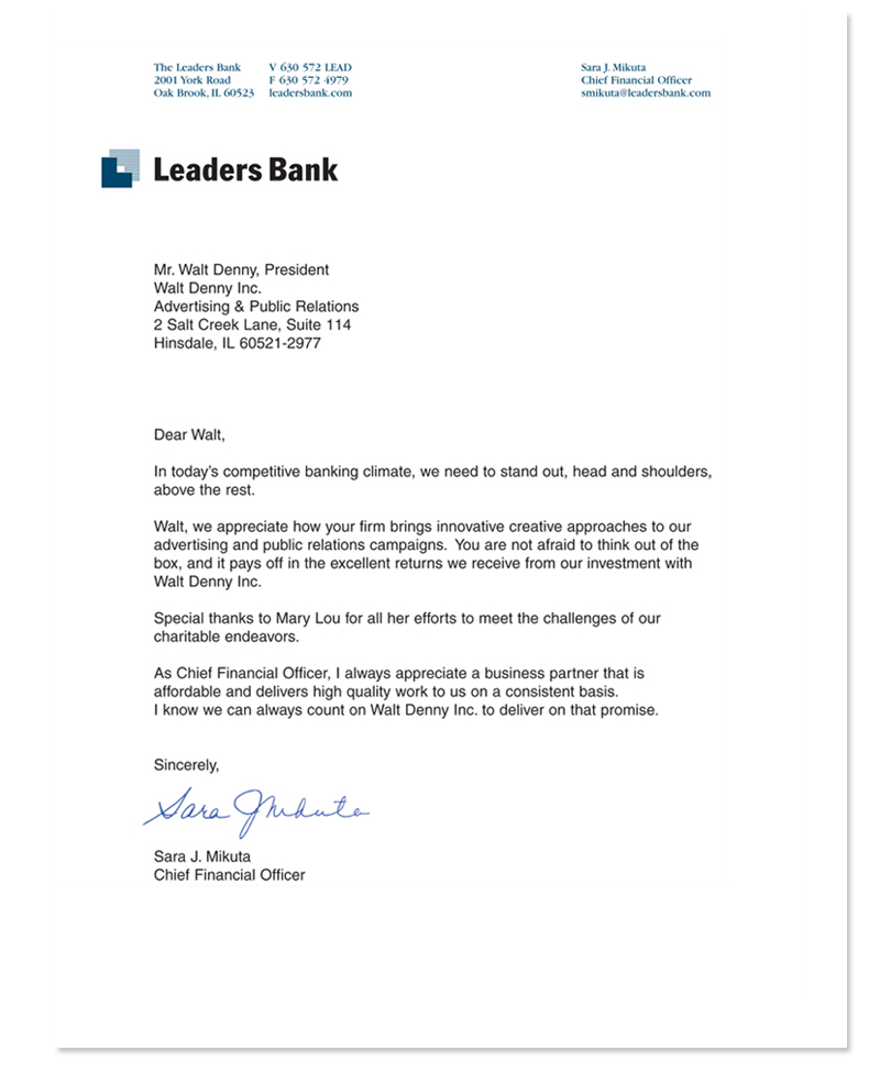 Leaders Bank Testimonial Letter
